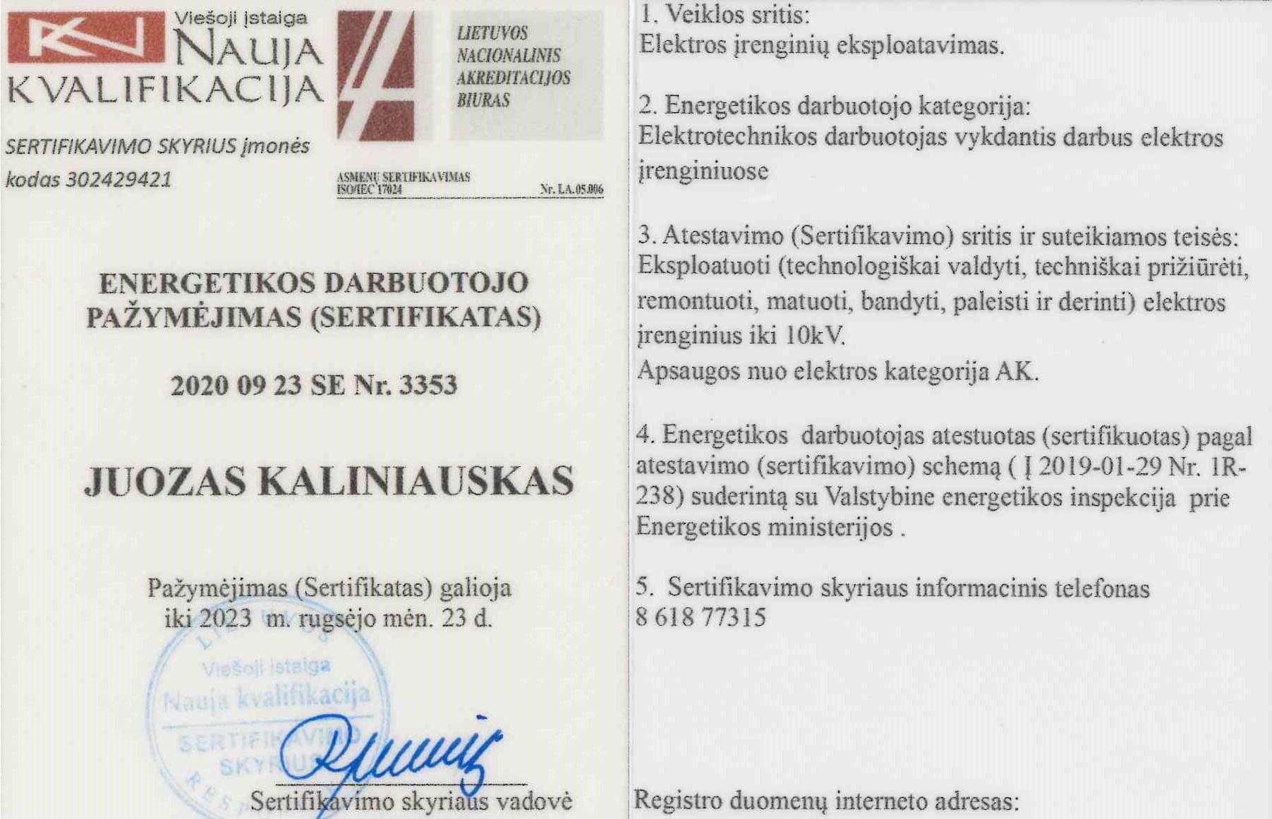 Elektros energijos energetikos darbuotojo sertifikatas